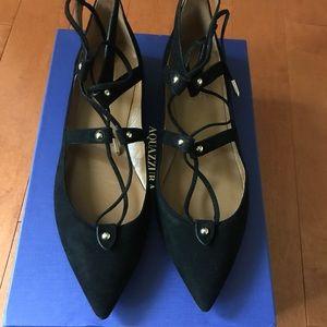"""Aquazzura Shoes - NIB Authentic Aquazzura """"Bel Air"""" Blk Suede flats"""